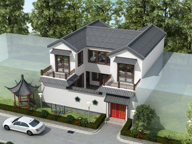 农村二层自建小别墅,独门独户,带小庭院,精致美观