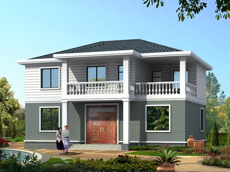 简单干练的中式二层自建小别墅设计图