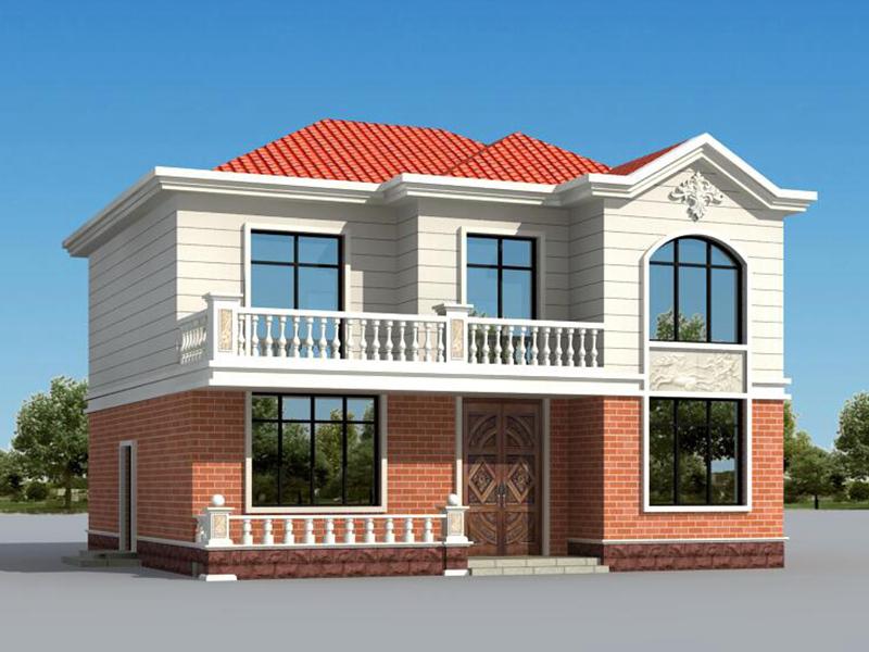 11x10米 经典户型二层农村小别墅设计图,含效果图