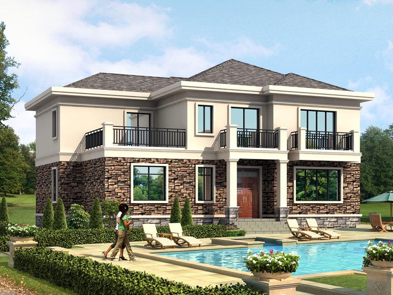 17x12米经济实用型二层农村小别墅设计图,外观看起来时尚大方