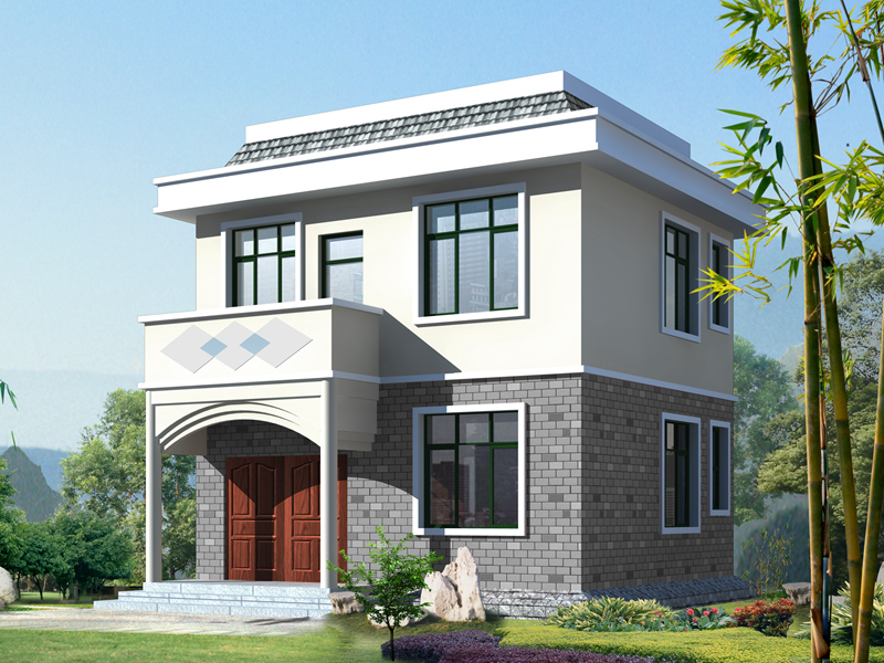 7.2x7.4米简单实用二层平屋顶农村房子设计图_二层实用房屋设计图_造价15万以内农房设计图