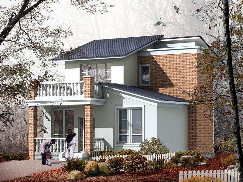 8.6x11.1米15万左右二层小楼房设计图_农村住房推荐设计图纸_国家推广农村建房户型