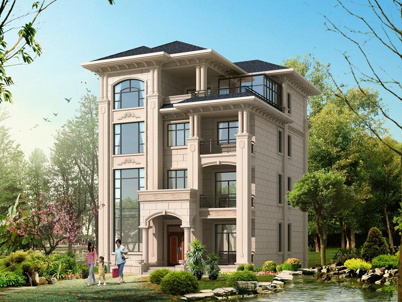 占地140㎡左右的四层复式自建房屋设计图,简单大气