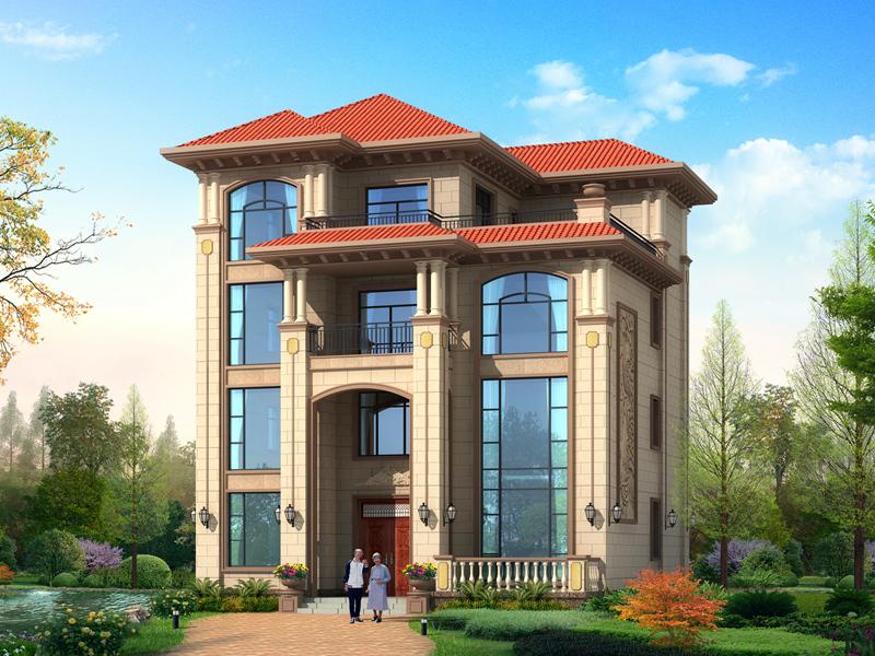 欧式四层复式别墅设计图,高端大气,带有大面积观景露台