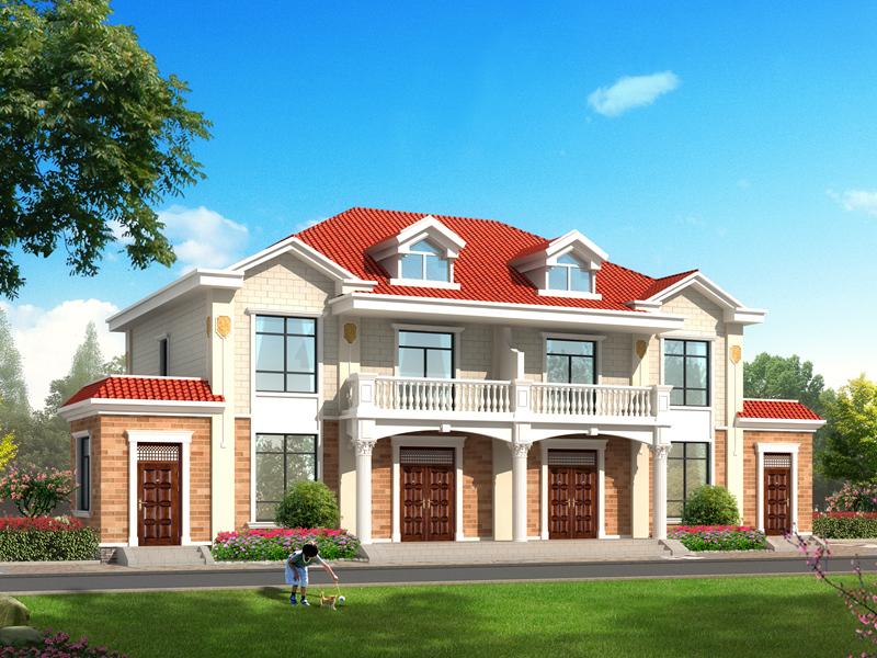 经典二层双拼自建别墅设计图,单户11.6*11.6米,小户型,经济实用