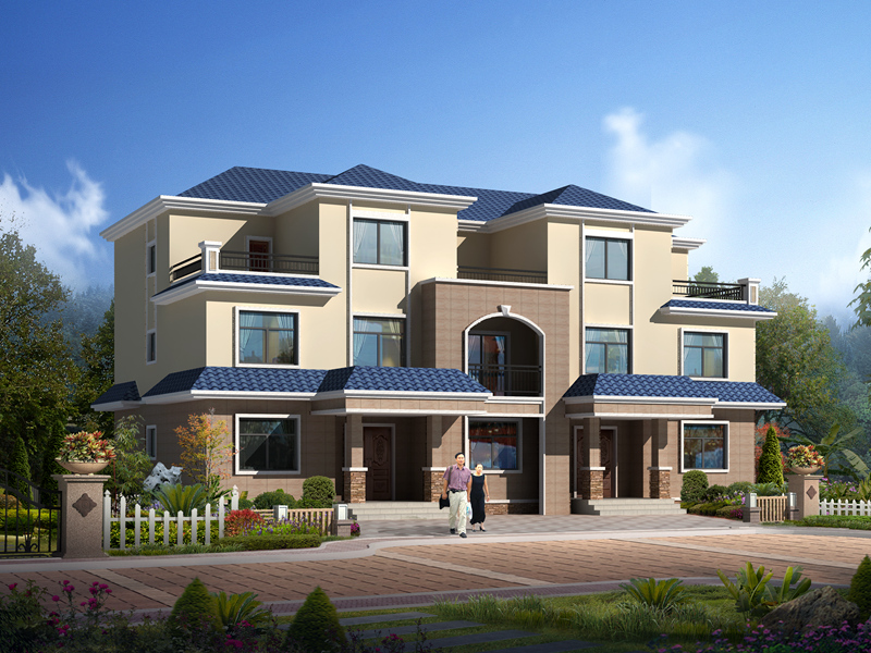 三层自建豪华双拼别墅设计图,高端大气,经典联排别墅设计图