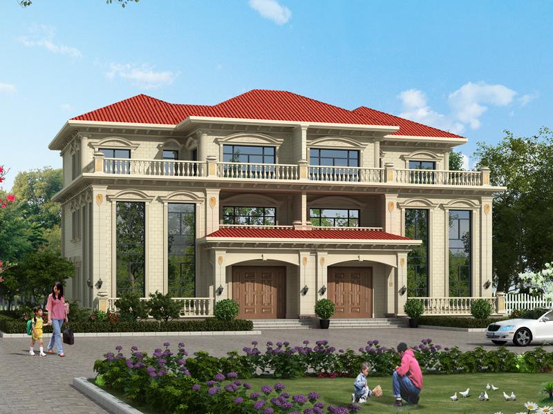 欧式三层双拼别墅设计图,占地365㎡,布局合理,精致美观