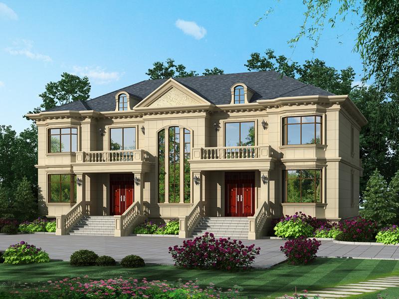 二层别墅设计图,双拼,双阳台,带有地下室