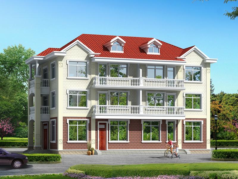 一梯两户三层别墅设计图,双阳台,可多户同时居住