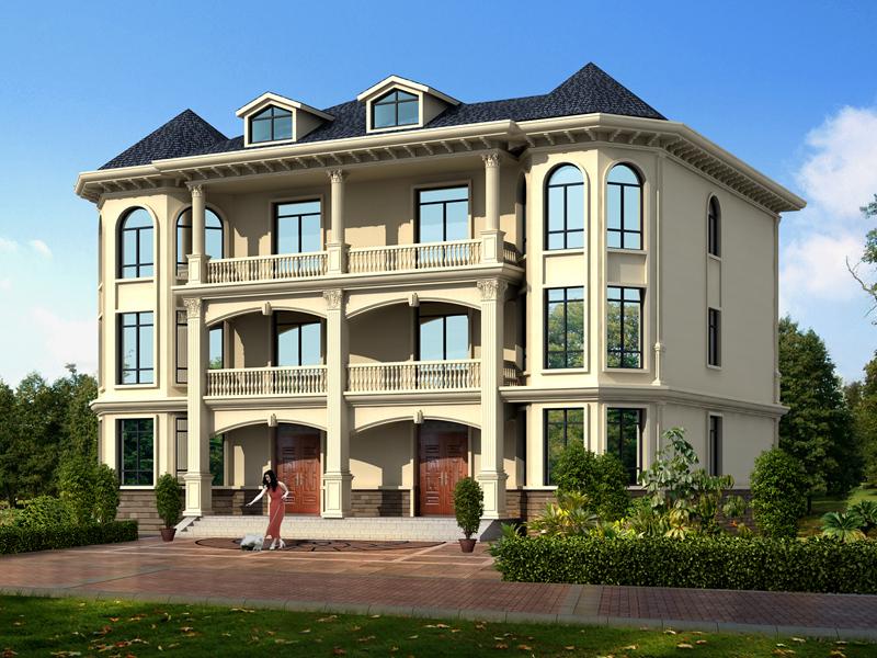 自建房设计图_三层别墅设计图_双拼_外观效果图