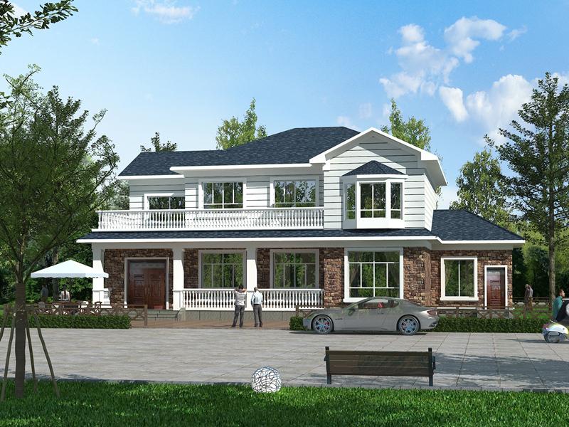 清新海滨小别墅设计施工图,温馨的二层自建房屋
