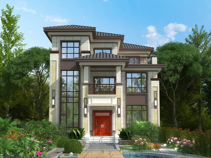 三层半别墅带院,中式古风设计,复古韵味特别足