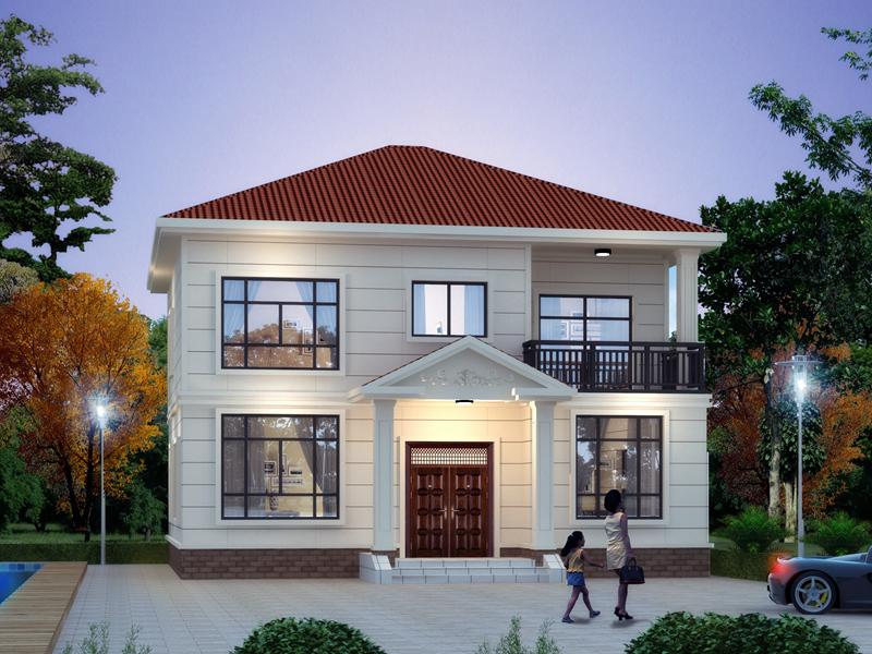 二层中式自建别墅设计图,带小露台,经济实用