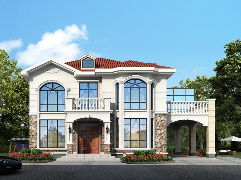 精品二层别墅设计图,带车库,带阳光房