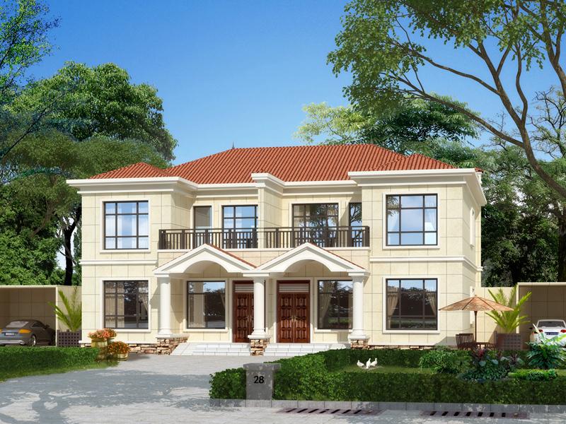 新中式二层双拼别墅自建房设计图纸,