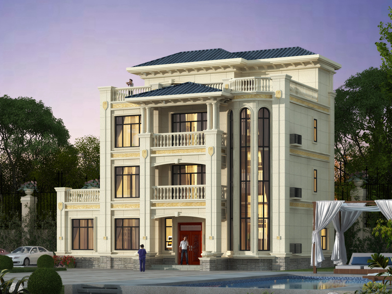 豪华四层别墅设计图纸,低调奢华,带地下室,顶层带大露台,