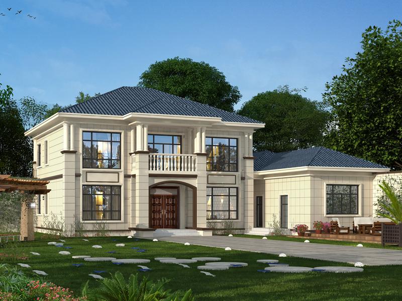 二层自建小别墅设计图,布局完善,小户型,带偏房,经济实用