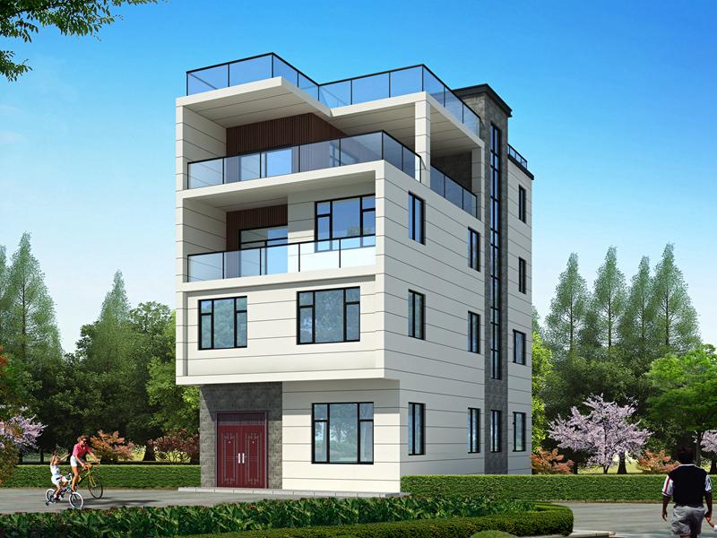 现代四层复式简约别墅自建房设计图纸,顶层平顶大露台,采光极好