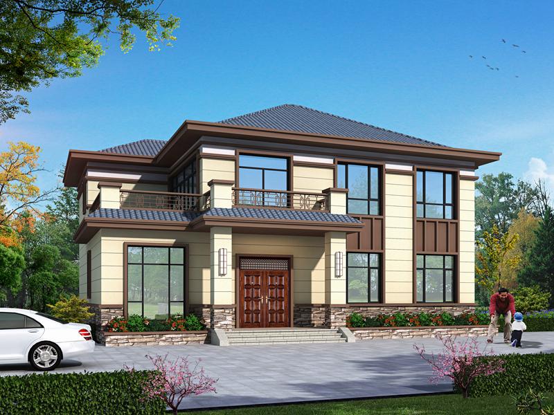 新中式二层别墅设计图纸,外观精致,布局合理