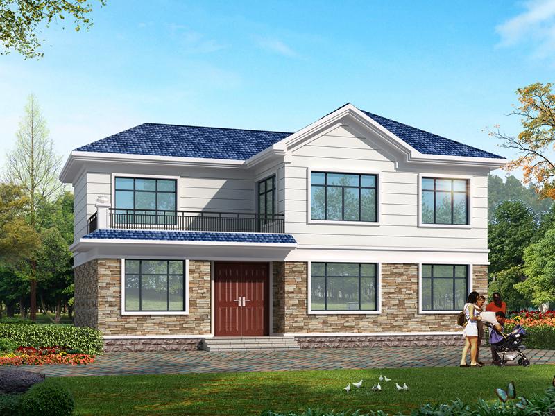 占地131.36㎡二层农村别墅设计图,带有小露台,