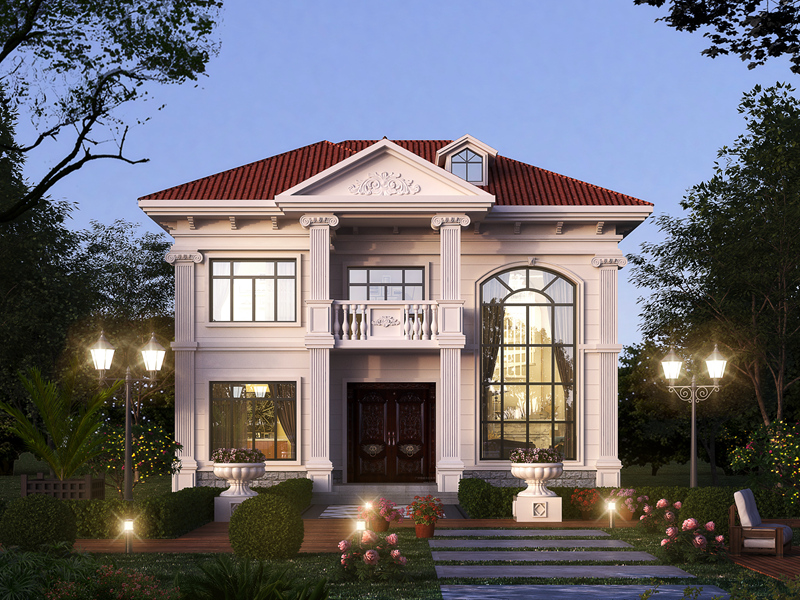 占地106.87平的欧式二层复式别墅设计图,农村自建房设计图纸